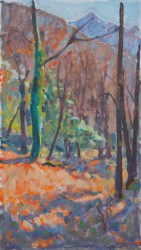 """Bright Sun in Forest"", oil on linen, 40x80cm Price 1200 E"