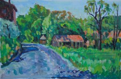 """Country Road"", oil on linen, 50x75cm  Price 1200 E8"