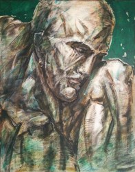 The Thinker        Oil and charcoal on canvas (1mX80cm)    Price  4000E